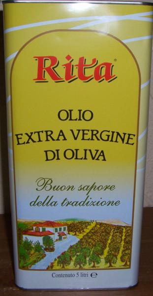 Olivenöl Extravergine 5 Liter Kanister Rita Toskana Salvadori EU-MHD 6.2021