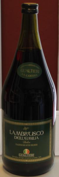 Lambrusco rosso dolce Frizzante Gualtieri Dell`Emilia IGT mit Schrauberverschluss 1,5 liter