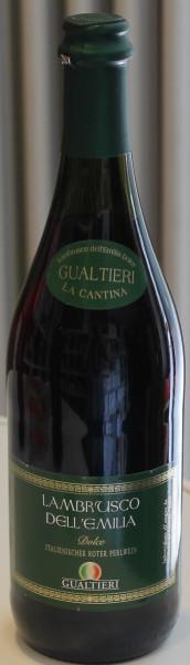 Lambrusco rosso dolce Frizzante Gualtieri Dell`Emilia IGT mit Kork 0,75 liter